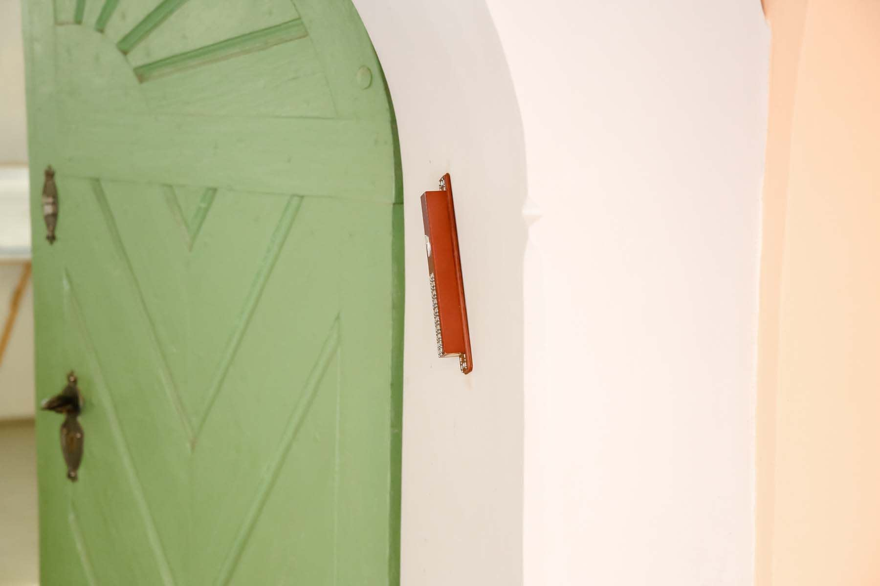 The Mezuzah on the doorpost of the Old Synagogue