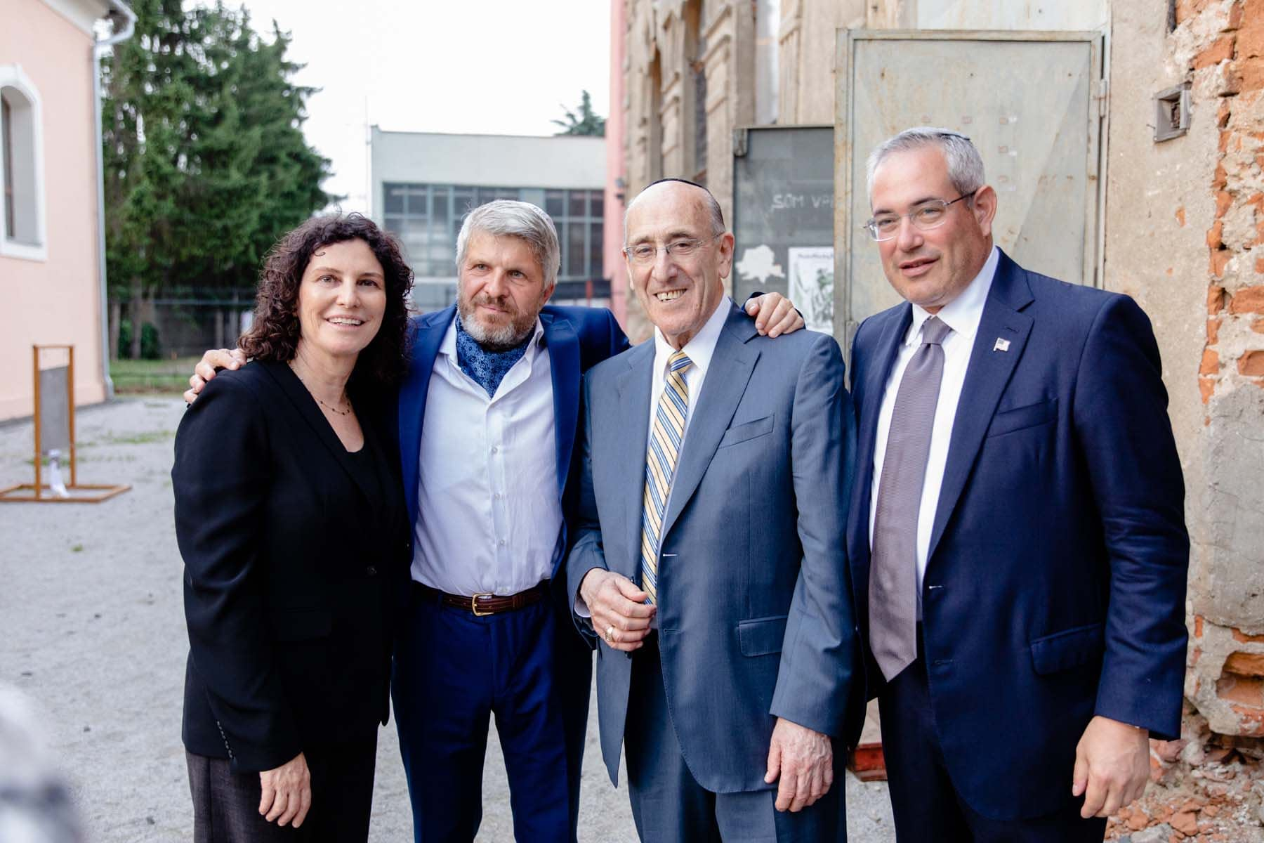 From left: Ms. Orit Stieglitz, Mr. Peter Absolon, Mr. Emil Fish, and Mr. Paul Packer outside the Old Synagogue after the event