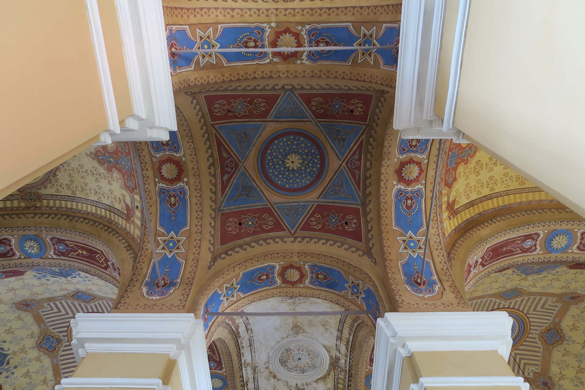 Renovated ceiling in Bardejov Old Synagogue showing ornamental decoration