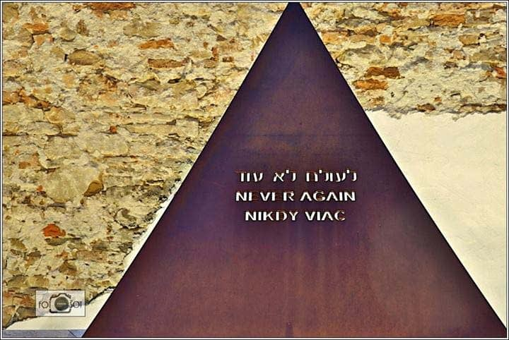 Close up of the steel triangle of the Star of David Monument showing the inscription which was cut into the steel