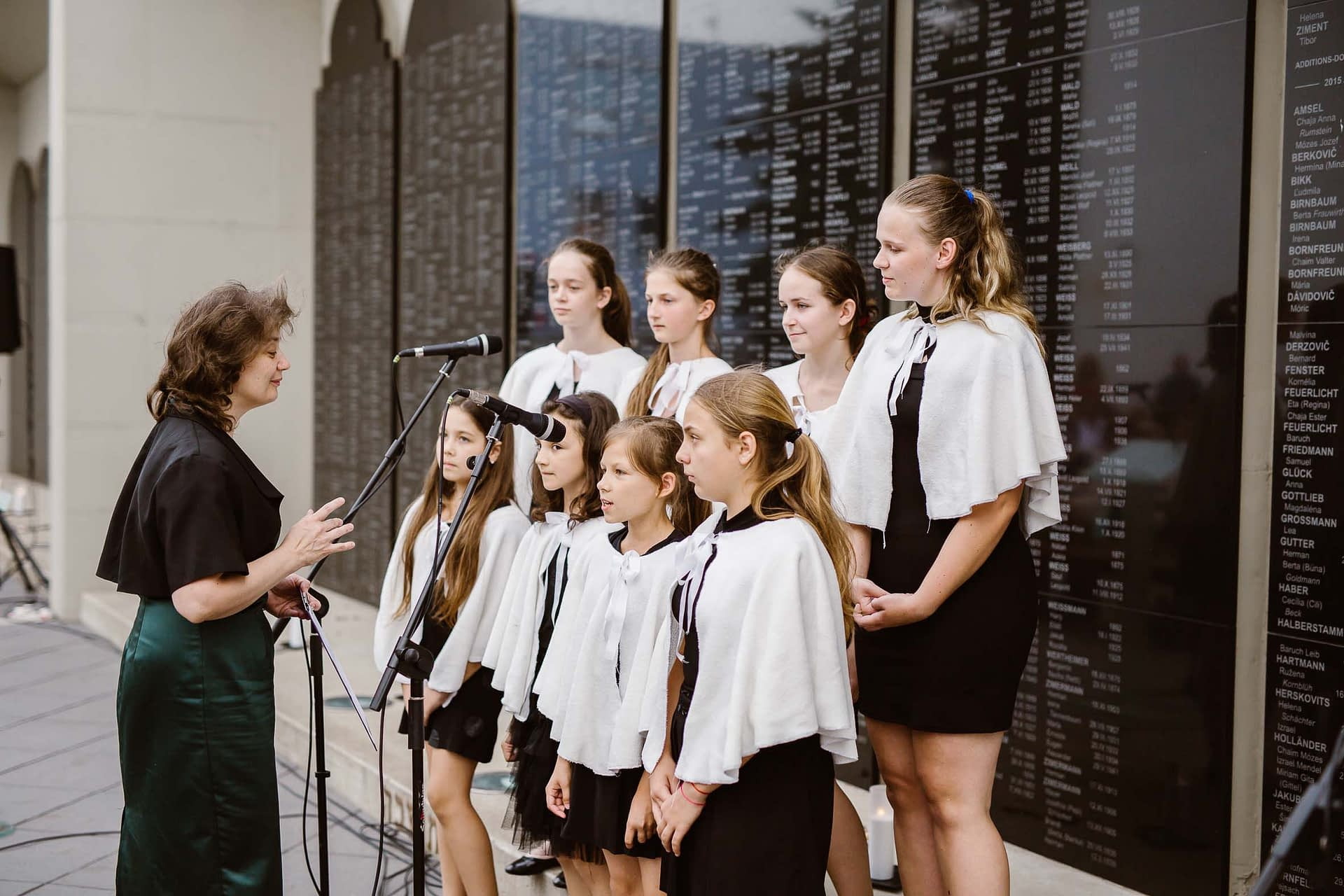 Local children's choir sang the Hebrew song Yaldut Nishkachat (a Forgotten Childhood)