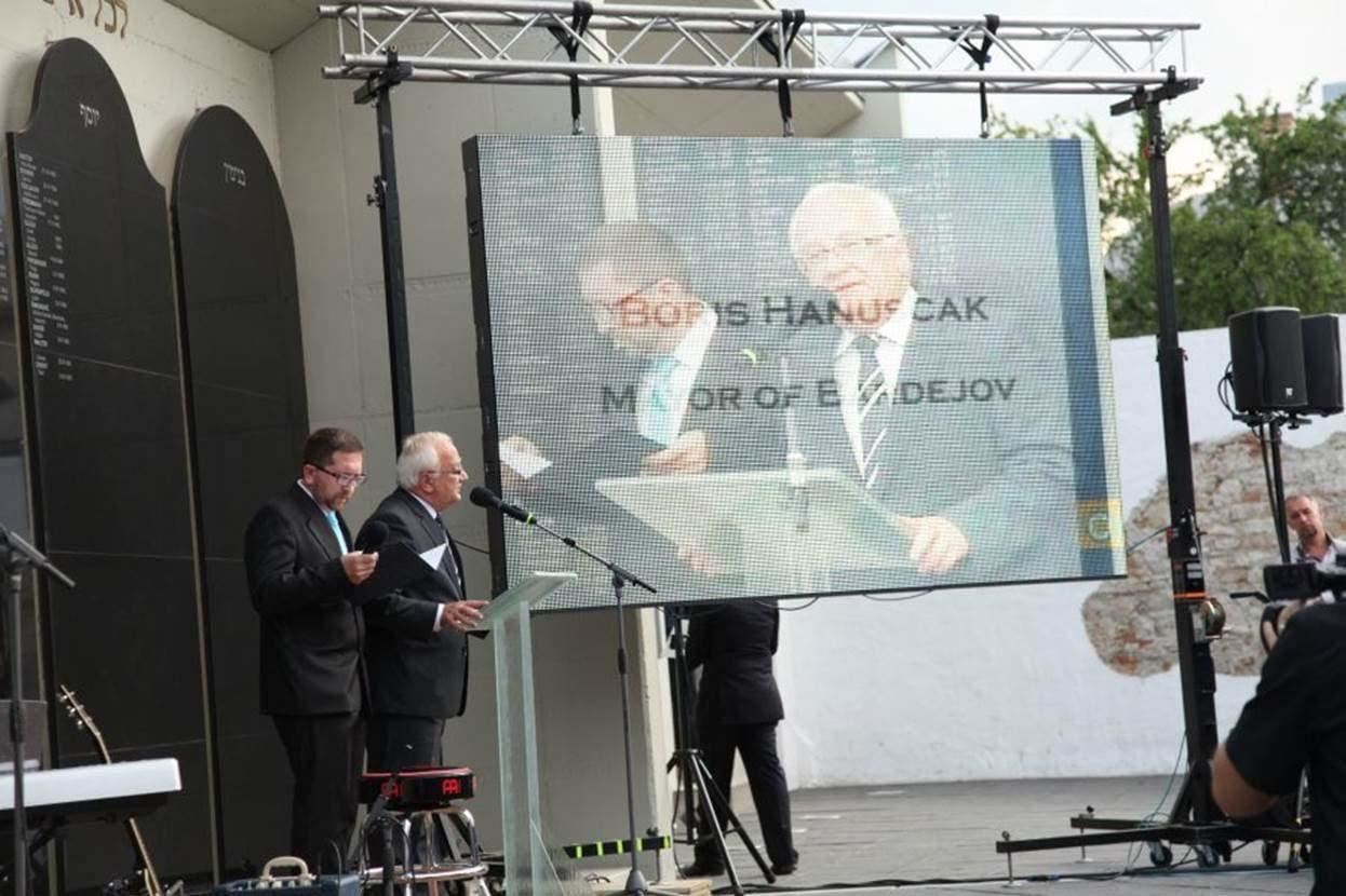 Mayor of Bardejov, Mr. Boris Hanuscak, speaks at the Dedication Ceremony