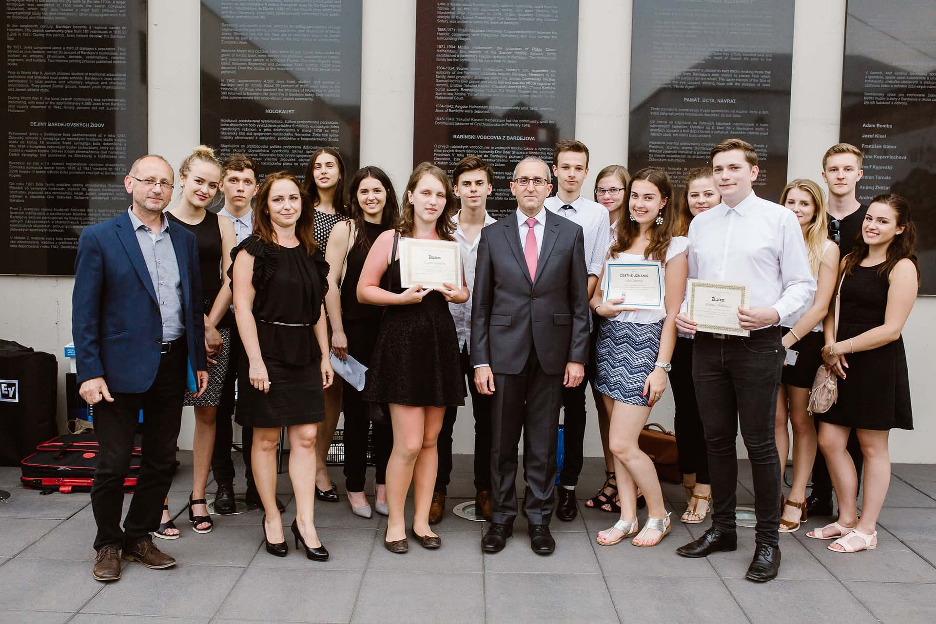Students and Essay contest participants with H.E. Zvi Aviner Vapni