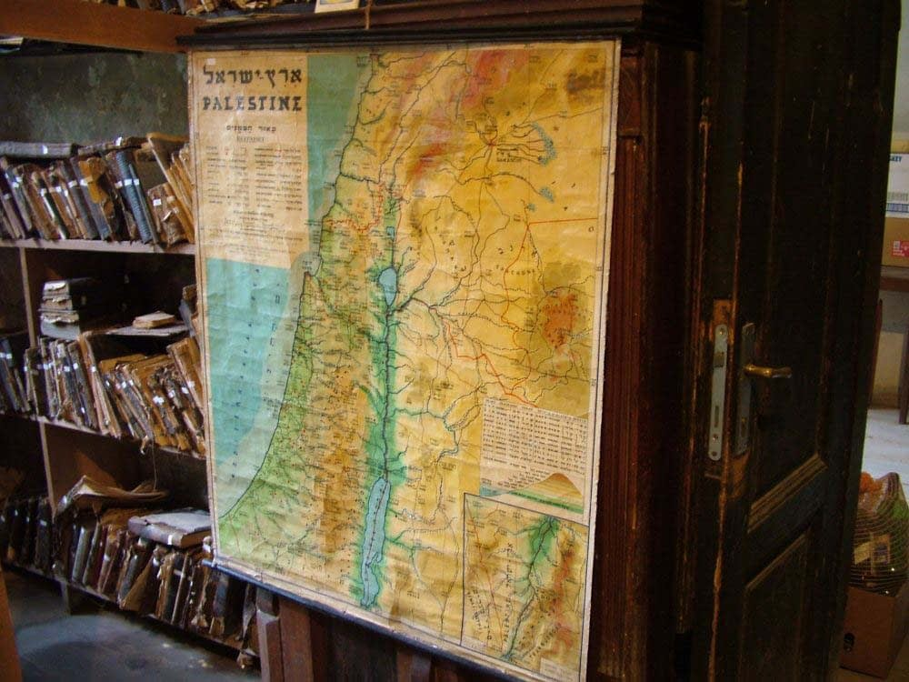 Preserved map of Israel in Bikur Cholim