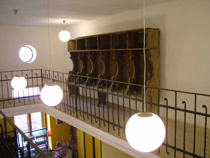Mikvah Gallery and original wooden benches