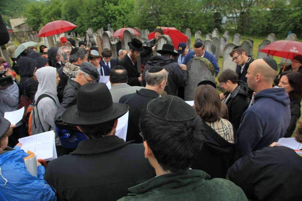 Saying Kadish in the Jewish Cemetery during May 2012 Gathering