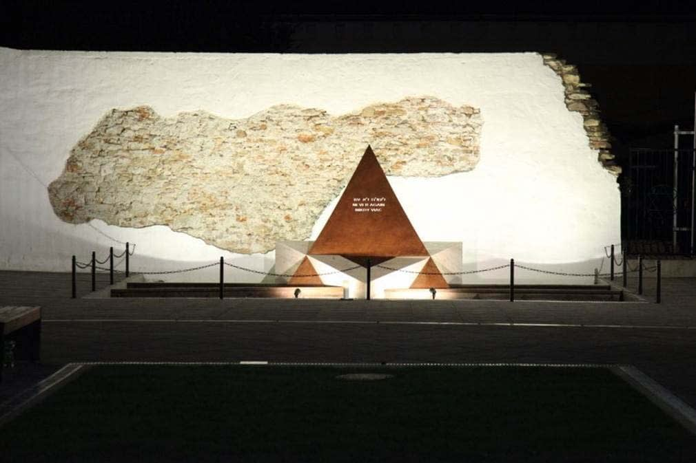 The Star of David Monument on the evening of the Dedication Ceremony