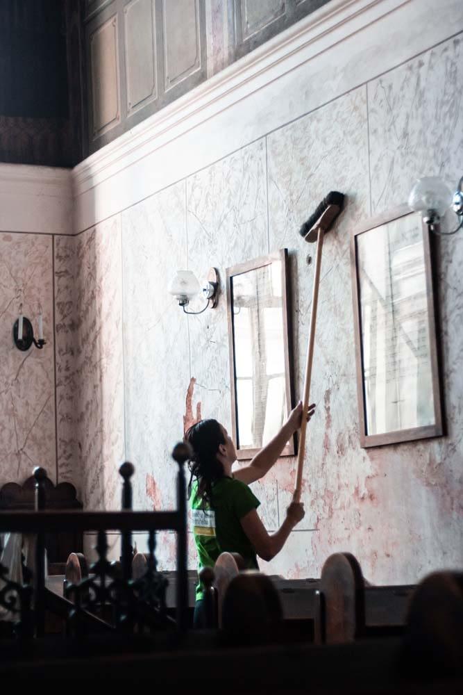 The walls inside Bikur Cholim were swept