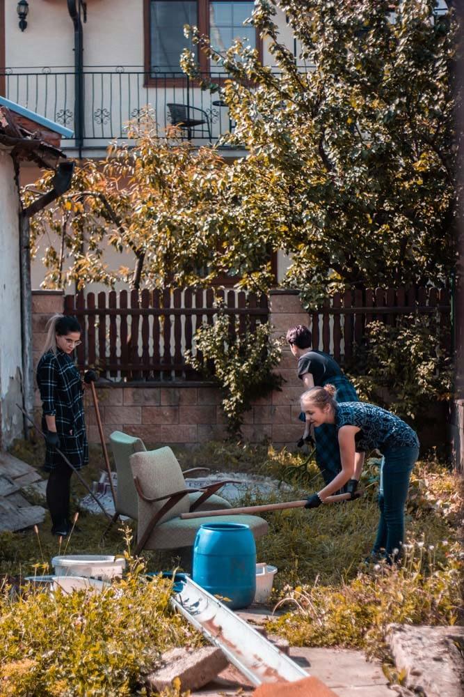 The yard outside Bikur Cholim was cleared of debris